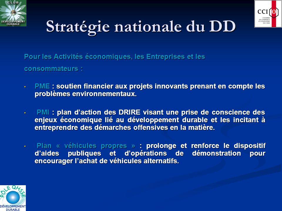 Stratégie nationale du DD Pour les Activités économiques, les Entreprises et les consommateurs : PME : soutien financier aux projets innovants prenant
