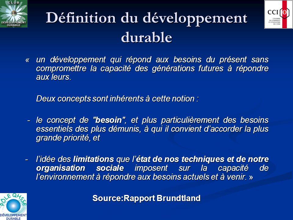 Définition du développement durable « un développement qui répond aux besoins du présent sans compromettre la capacité des générations futures à répon