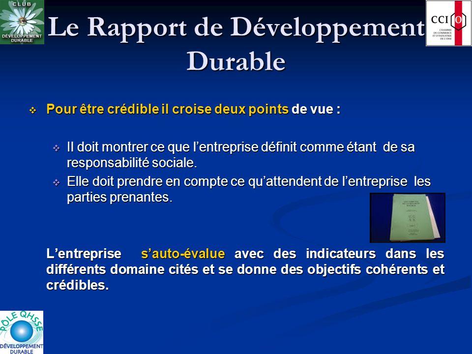 Le Rapport de Développement Durable Pour être crédible il croise deux points de vue : Pour être crédible il croise deux points de vue : Il doit montre