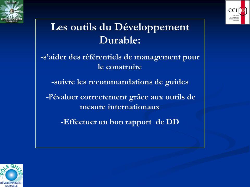 Les outils du Développement Durable: -saider des référentiels de management pour le construire -suivre les recommandations de guides -lévaluer correct