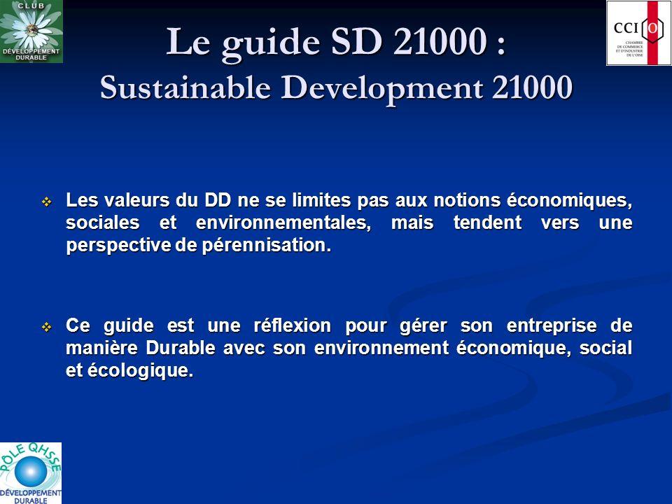 Le guide SD 21000 : Sustainable Development 21000 Les valeurs du DD ne se limites pas aux notions économiques, sociales et environnementales, mais ten