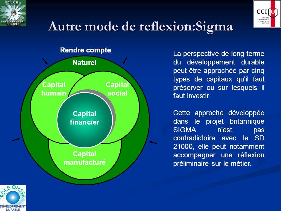 Autre mode de reflexion:Sigma Capital manufacturé Capital humain Capital social Naturel Rendre compte Capital financier La perspective de long terme d