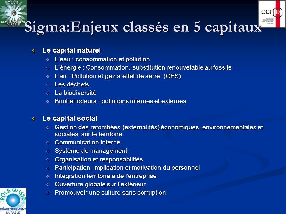 Sigma:Enjeux classés en 5 capitaux Le capital naturel Le capital naturel Leau : consommation et pollution Leau : consommation et pollution Lénergie :