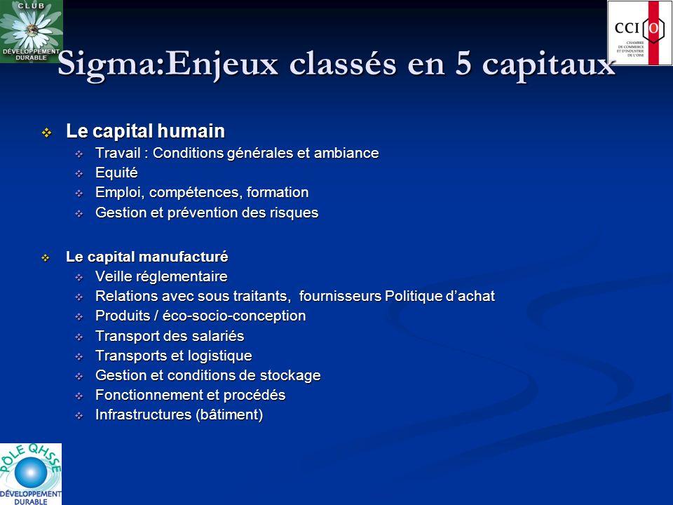 Sigma:Enjeux classés en 5 capitaux Le capital humain Le capital humain Travail : Conditions générales et ambiance Travail : Conditions générales et am
