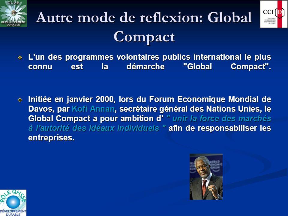 Autre mode de reflexion: Global Compact L'un des programmes volontaires publics international le plus connu est la démarche