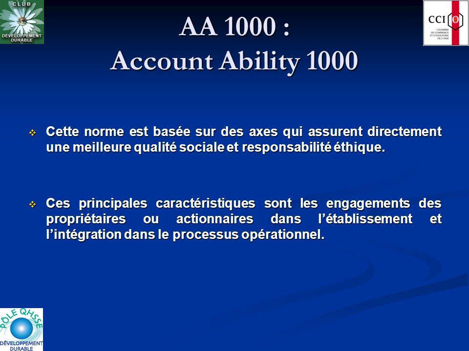 AA 1000 : Account Ability 1000 Cette norme est basée sur des axes qui assurent directement une meilleure qualité sociale et responsabilité éthique. Ce