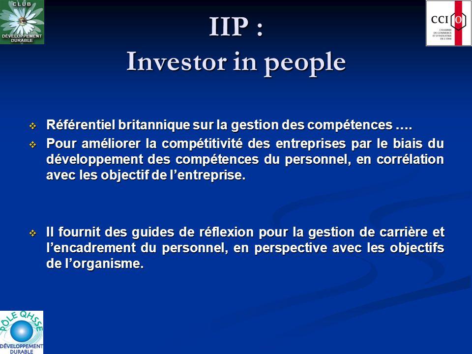 IIP : Investor in people Référentiel britannique sur la gestion des compétences …. Référentiel britannique sur la gestion des compétences …. Pour amél
