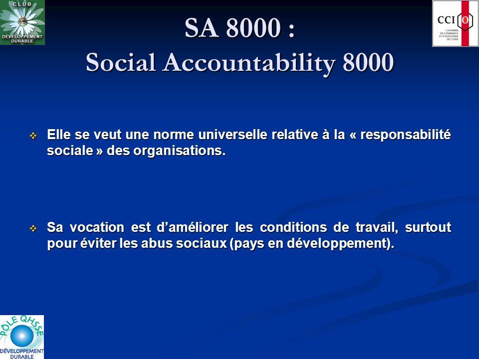 SA 8000 : Social Accountability 8000 Elle se veut une norme universelle relative à la « responsabilité sociale » des organisations. Elle se veut une n