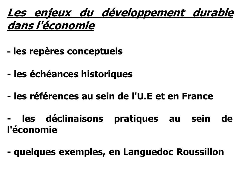 Les enjeux du développement durable dans l économie - les repères conceptuels - les échéances historiques - les références au sein de l U.E et en France - les déclinaisons pratiques au sein de l économie - quelques exemples, en Languedoc Roussillon