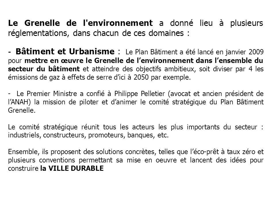 Le Grenelle de l environnement a donné lieu à plusieurs réglementations, dans chacun de ces domaines : - Bâtiment et Urbanisme : Le Plan Bâtiment a été lancé en janvier 2009 pour mettre en œuvre le Grenelle de lenvironnement dans lensemble du secteur du bâtiment et atteindre des objectifs ambitieux, soit diviser par 4 les émissions de gaz à effets de serre dici à 2050 par exemple.