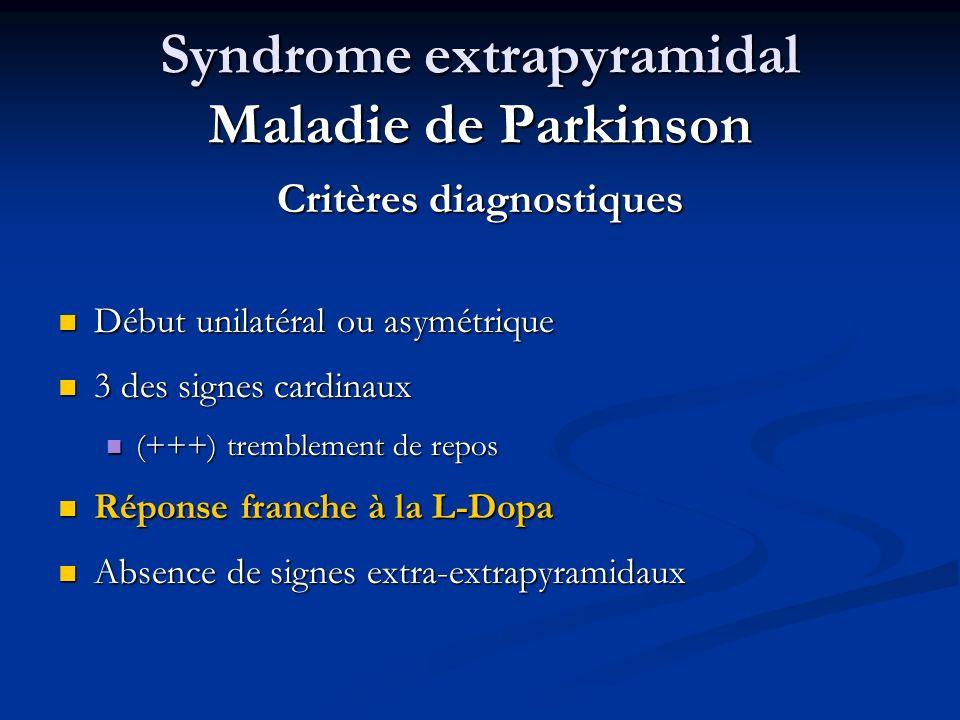 Syndrome extrapyramidal Maladie de Parkinson Critères diagnostiques Début unilatéral ou asymétrique Début unilatéral ou asymétrique 3 des signes cardi