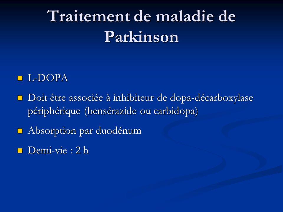 Traitement de maladie de Parkinson L-DOPA L-DOPA Doit être associée à inhibiteur de dopa-décarboxylase périphérique (bensérazide ou carbidopa) Doit êt