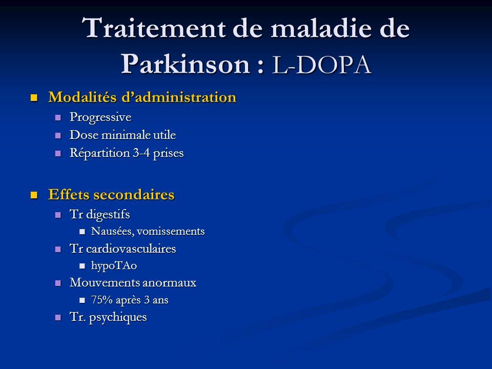 Traitement de maladie de Parkinson : L-DOPA Modalités dadministration Modalités dadministration Progressive Progressive Dose minimale utile Dose minim