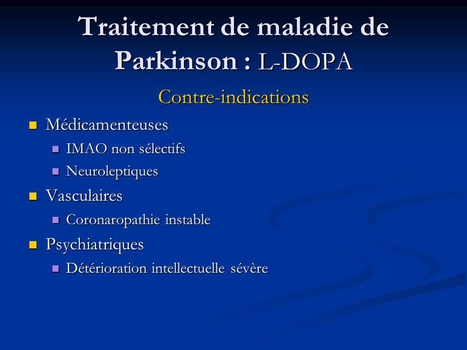 Traitement de maladie de Parkinson : L-DOPA Contre-indications Médicamenteuses Médicamenteuses IMAO non sélectifs IMAO non sélectifs Neuroleptiques Ne