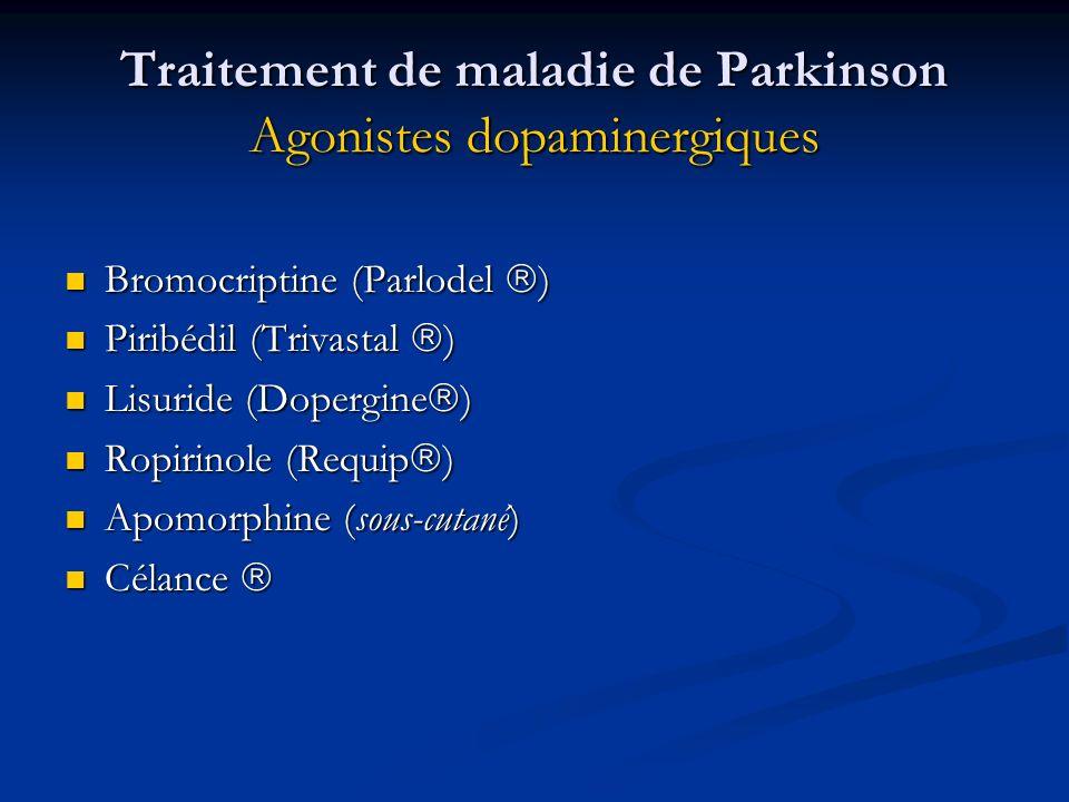 Traitement de maladie de Parkinson Agonistes dopaminergiques Bromocriptine (Parlodel ) Bromocriptine (Parlodel ) Piribédil (Trivastal ) Piribédil (Tri