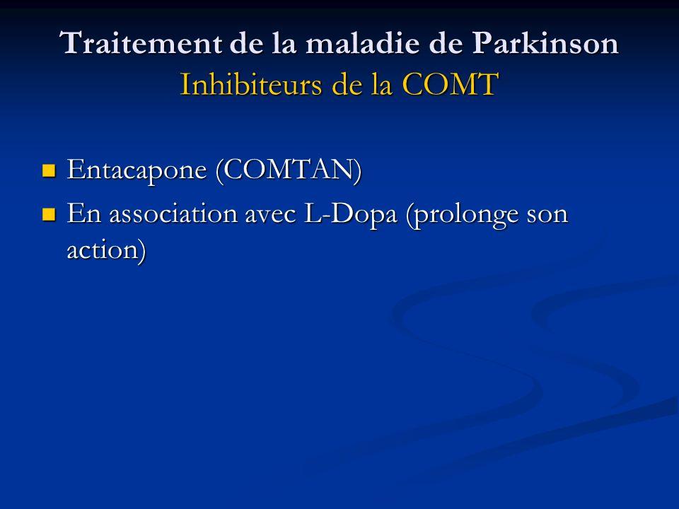 Traitement de la maladie de Parkinson Inhibiteurs de la COMT Entacapone (COMTAN) Entacapone (COMTAN) En association avec L-Dopa (prolonge son action)