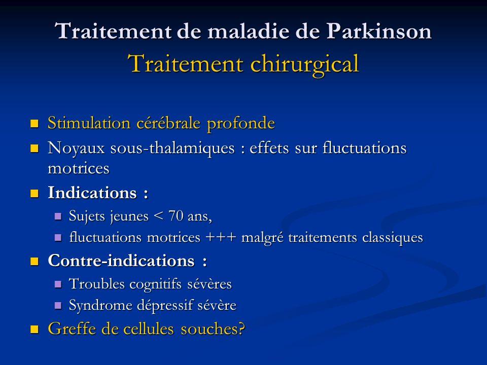 Traitement de maladie de Parkinson Traitement chirurgical Stimulation cérébrale profonde Stimulation cérébrale profonde Noyaux sous-thalamiques : effe