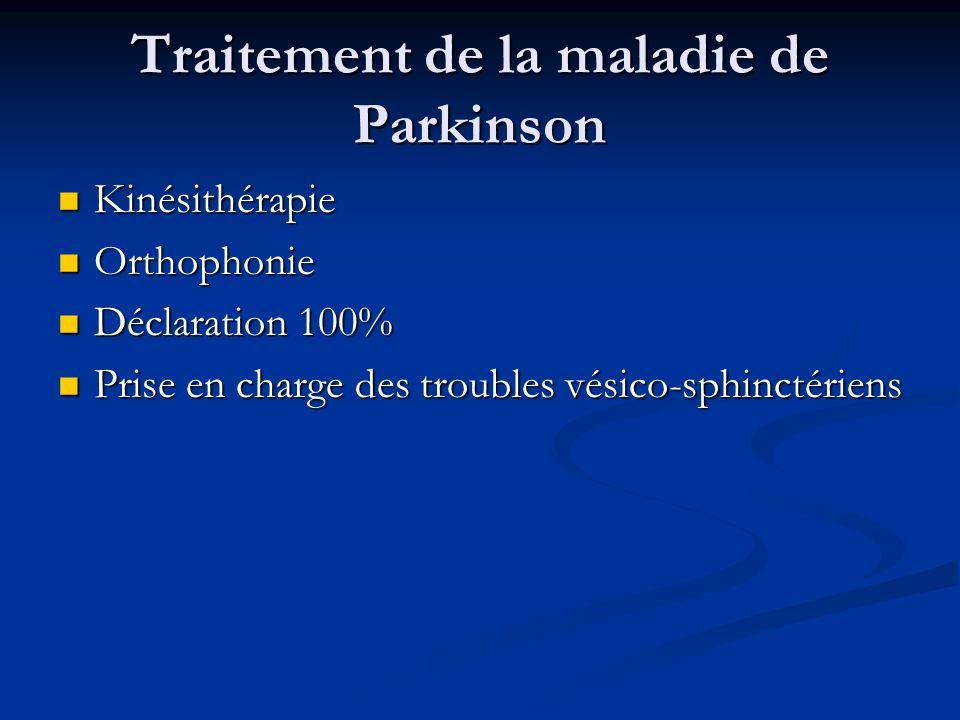 Traitement de la maladie de Parkinson Kinésithérapie Kinésithérapie Orthophonie Orthophonie Déclaration 100% Déclaration 100% Prise en charge des trou