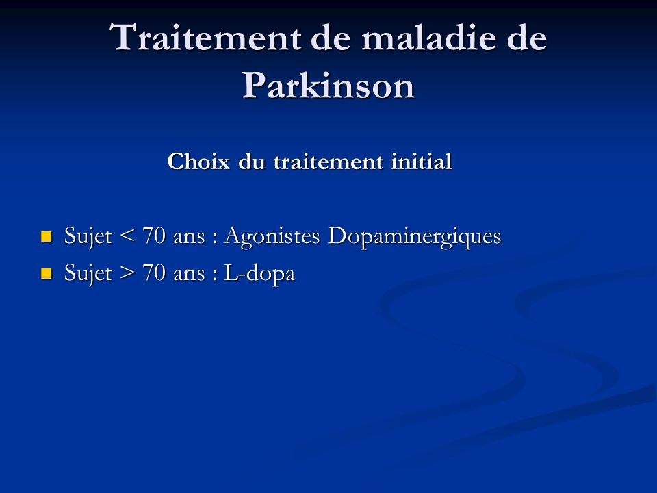 Traitement de maladie de Parkinson Choix du traitement initial Sujet < 70 ans : Agonistes Dopaminergiques Sujet < 70 ans : Agonistes Dopaminergiques S