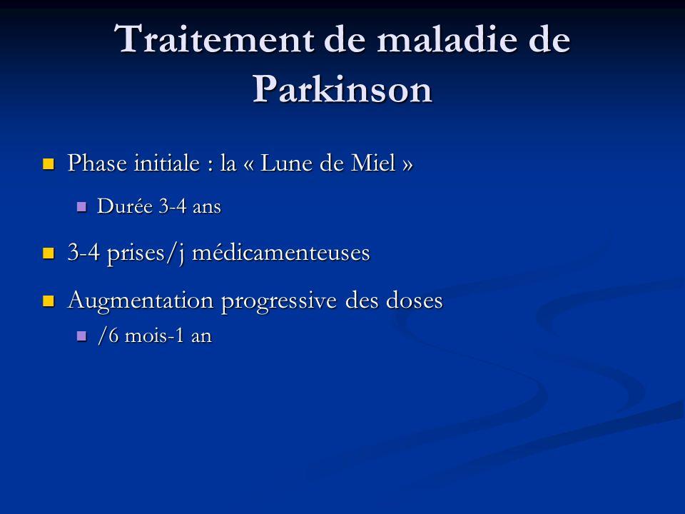 Traitement de maladie de Parkinson Phase initiale : la « Lune de Miel » Phase initiale : la « Lune de Miel » Durée 3-4 ans Durée 3-4 ans 3-4 prises/j
