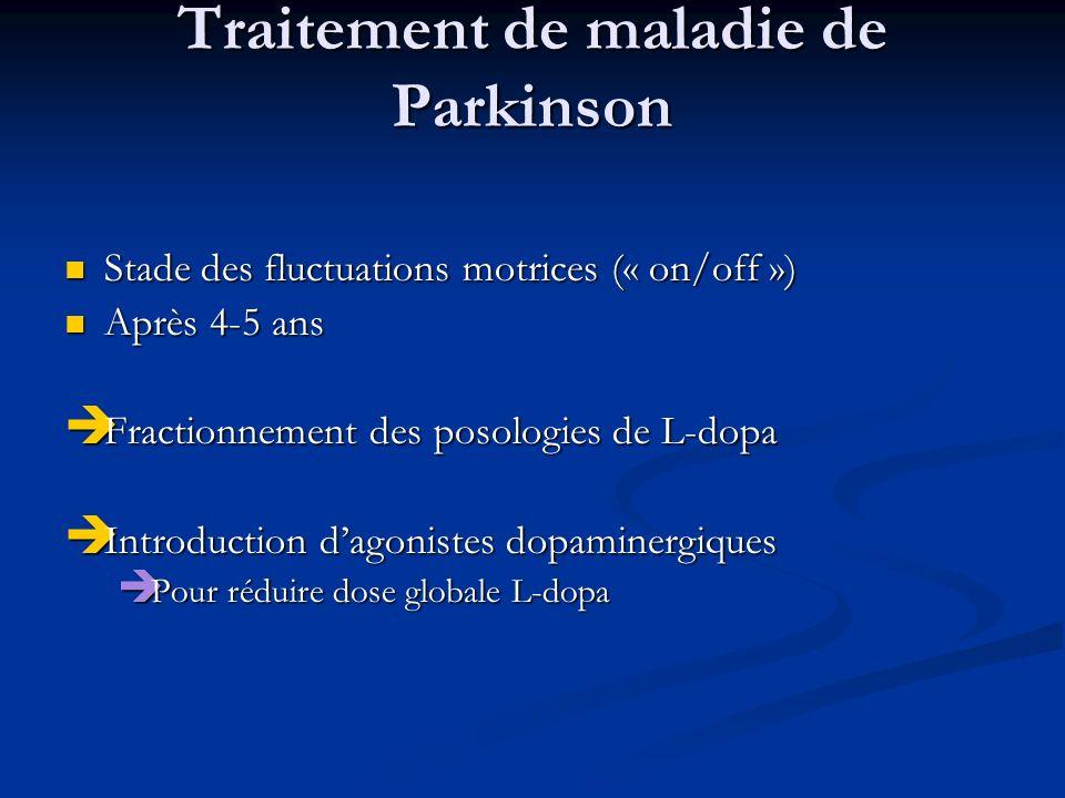 Traitement de maladie de Parkinson Stade des fluctuations motrices (« on/off ») Stade des fluctuations motrices (« on/off ») Après 4-5 ans Après 4-5 a