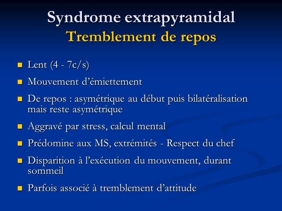 Syndrome extrapyramidal Tremblement de repos Lent (4 - 7c/s) Lent (4 - 7c/s) Mouvement démiettement Mouvement démiettement De repos : asymétrique au d