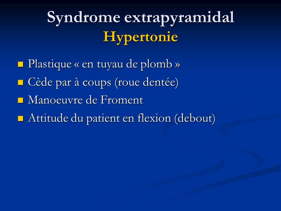 Syndrome extrapyramidal Hypertonie Plastique « en tuyau de plomb » Plastique « en tuyau de plomb » Cède par à coups (roue dentée) Cède par à coups (ro