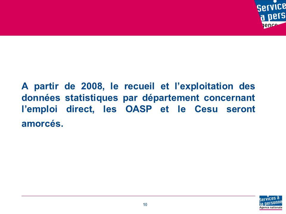 10 A partir de 2008, le recueil et lexploitation des données statistiques par département concernant lemploi direct, les OASP et le Cesu seront amorcés.