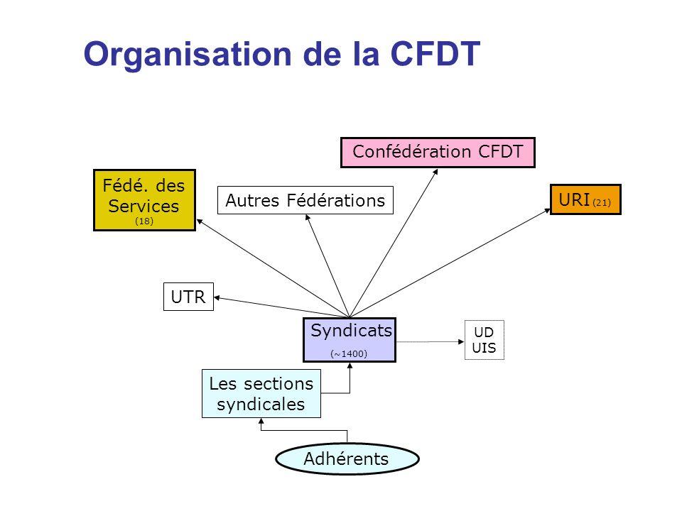 Organisation de la CFDT Confédération CFDT Fédé. des Services (18) UTR Syndicats (~1400) Adhérents URI (21) Les sections syndicales UD UIS Autres Fédé