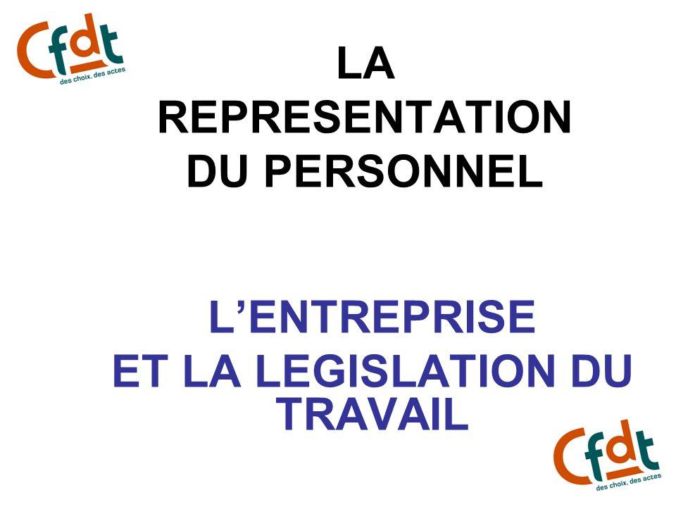 LA REPRESENTATION DU PERSONNEL LENTREPRISE ET LA LEGISLATION DU TRAVAIL