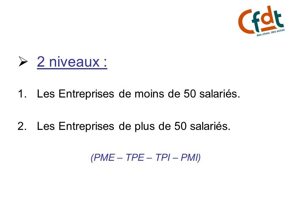 2 niveaux : 1.Les Entreprises de moins de 50 salariés. 2.Les Entreprises de plus de 50 salariés. (PME – TPE – TPI – PMI)