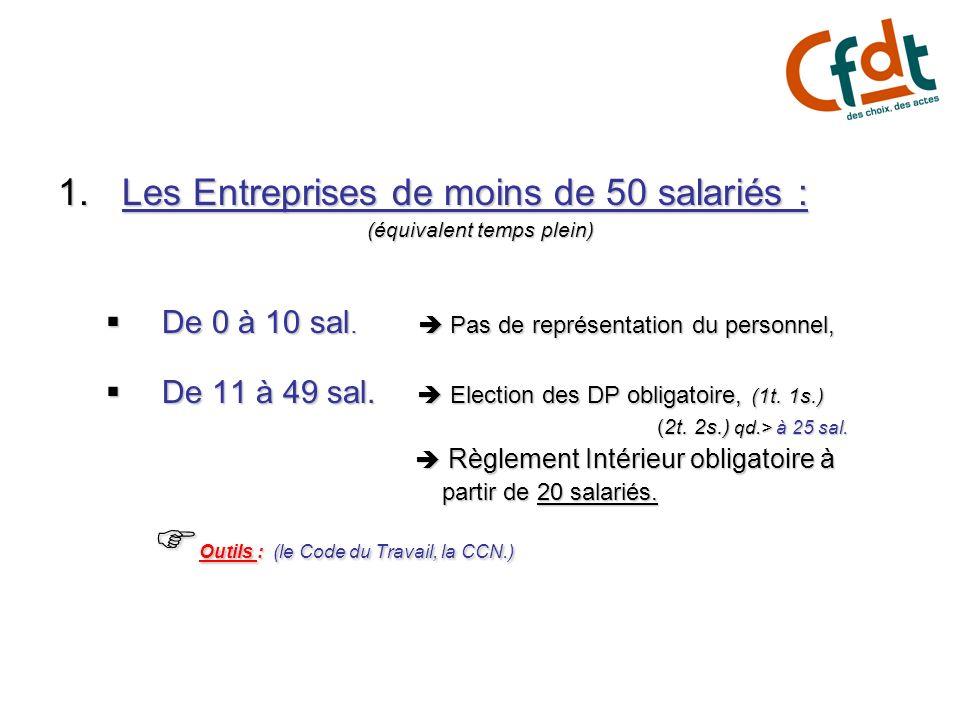 1.Les Entreprises de moins de 50 salariés : (équivalent temps plein) De 0 à 10 sal. Pas de représentation du personnel, De 0 à 10 sal. Pas de représen