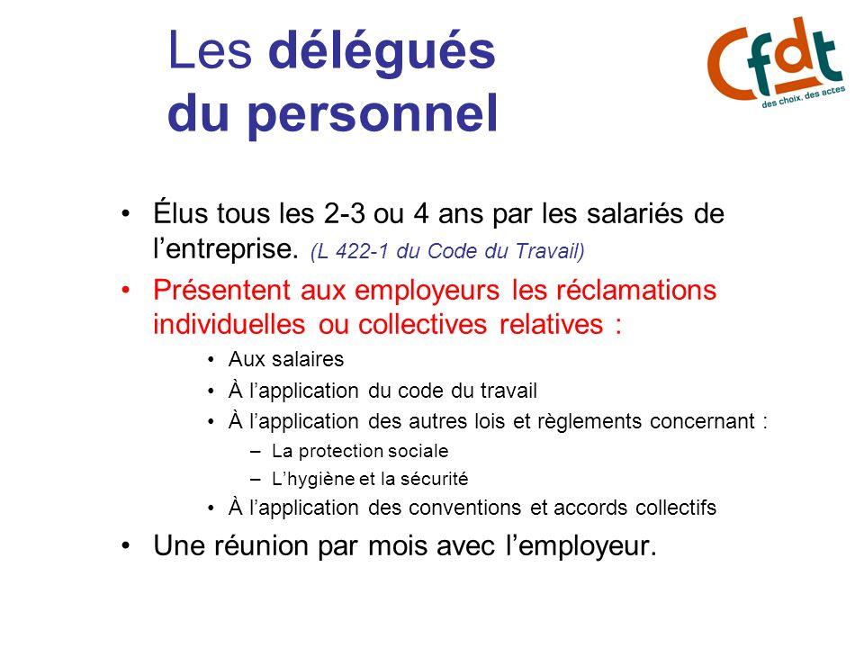 Les délégués du personnel Élus tous les 2-3 ou 4 ans par les salariés de lentreprise. (L 422-1 du Code du Travail) Présentent aux employeurs les récla