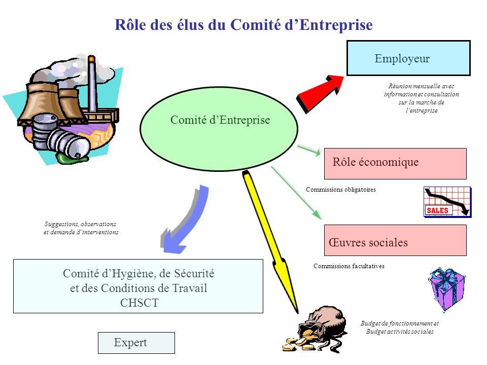 Rôle des élus du Comité dEntreprise Employeur Budget de fonctionnement et Budget activités sociales Réunion mensuelle avec information et consultation