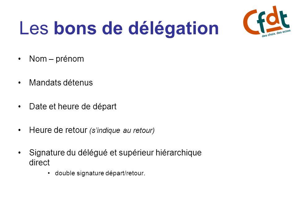 Les bons de délégation Nom – prénom Mandats détenus Date et heure de départ Heure de retour (sindique au retour) Signature du délégué et supérieur hié
