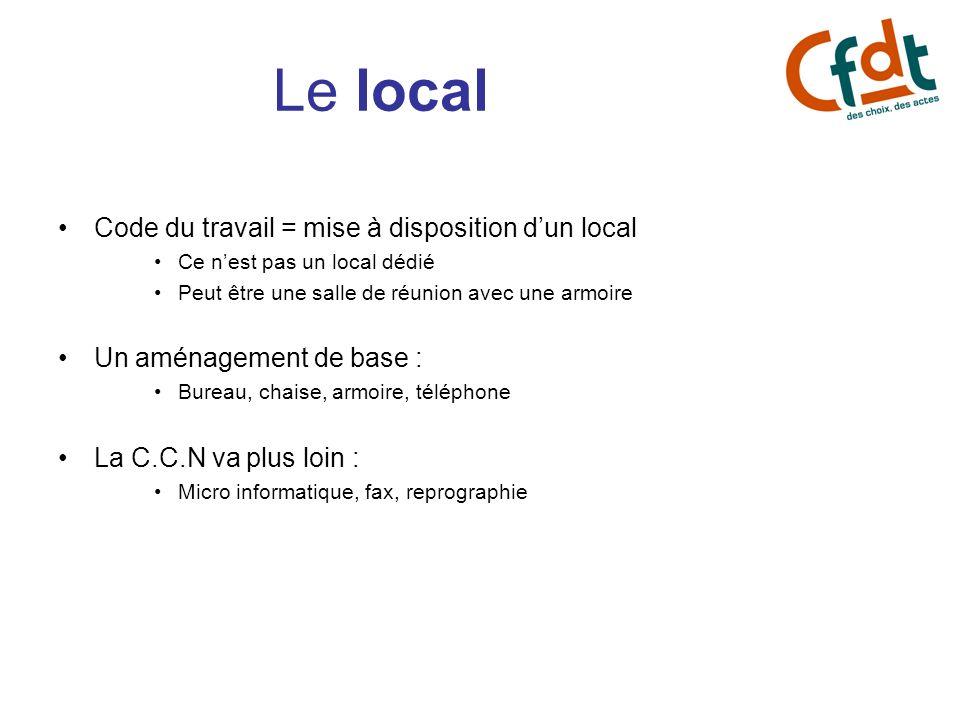 Le local Code du travail = mise à disposition dun local Ce nest pas un local dédié Peut être une salle de réunion avec une armoire Un aménagement de b