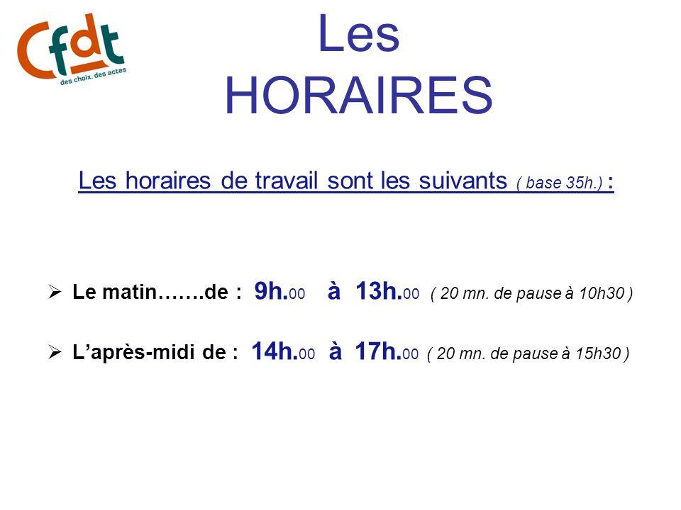 Les HORAIRES Les horaires de travail sont les suivants ( base 35h.) : Le matin…….de : 9h. 00 à 13h. 00 ( 20 mn. de pause à 10h30 ) Laprès-midi de : 14