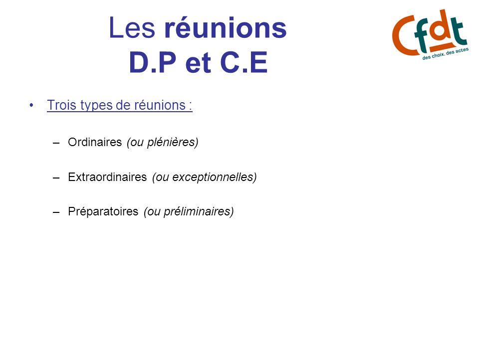 Les réunions D.P et C.E Trois types de réunions : –Ordinaires (ou plénières) –Extraordinaires (ou exceptionnelles) –Préparatoires (ou préliminaires)