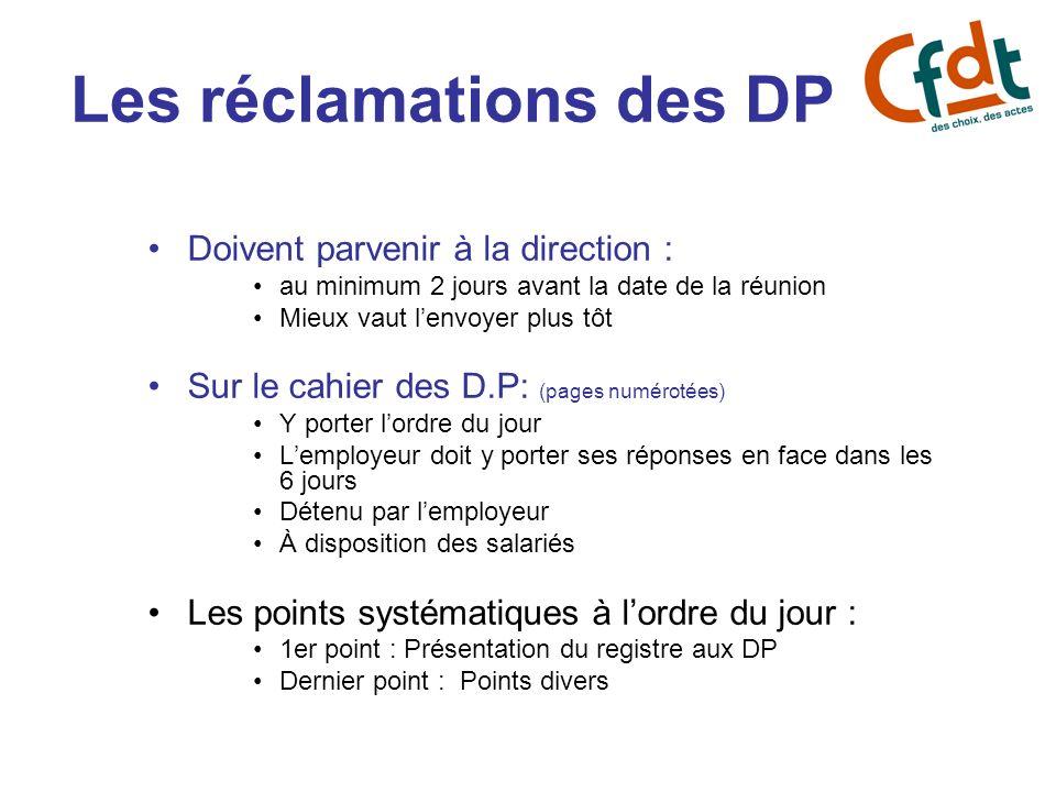 Les réclamations des DP Doivent parvenir à la direction : au minimum 2 jours avant la date de la réunion Mieux vaut lenvoyer plus tôt Sur le cahier de