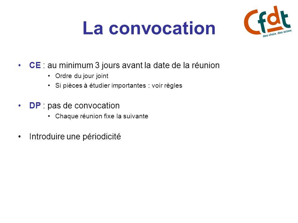La convocation CE : au minimum 3 jours avant la date de la réunion Ordre du jour joint Si pièces à étudier importantes : voir règles DP : pas de convo
