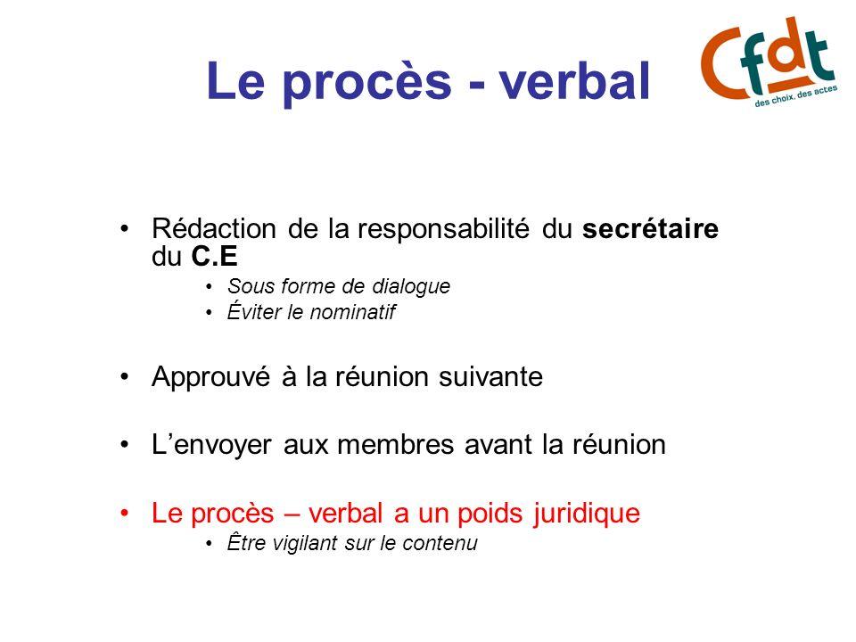 Le procès - verbal Rédaction de la responsabilité du secrétaire du C.E Sous forme de dialogue Éviter le nominatif Approuvé à la réunion suivante Lenvo