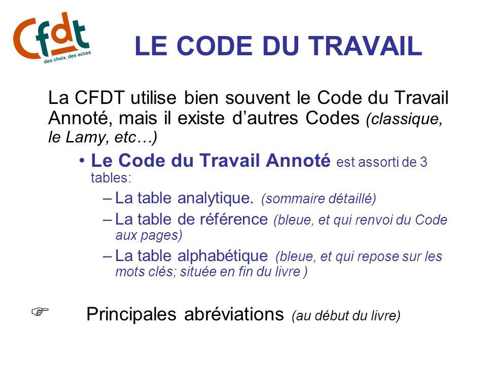 LE CODE DU TRAVAIL La CFDT utilise bien souvent le Code du Travail Annoté, mais il existe dautres Codes (classique, le Lamy, etc…) Le Code du Travail