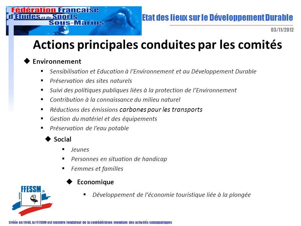 Etat des lieux sur le Développement Durable Créée en 1948, la FFESSM est membre fondateur de la confédération mondiale des activités subaquatiques 03/