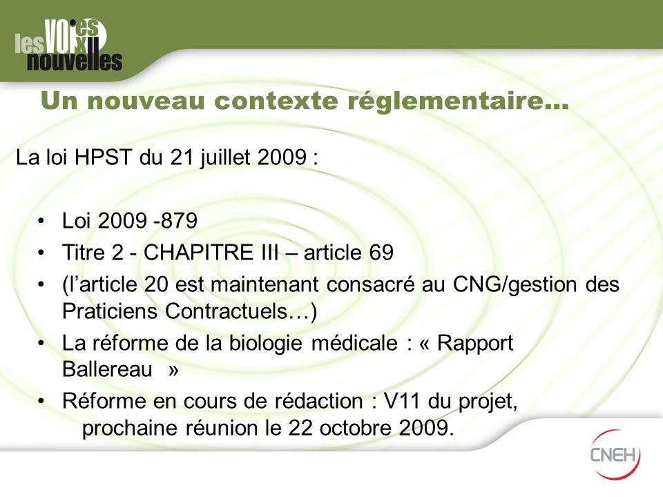 Un nouveau contexte réglementaire… La loi HPST du 21 juillet 2009 : Loi 2009 -879 Titre 2 - CHAPITRE III – article 69 (larticle 20 est maintenant cons