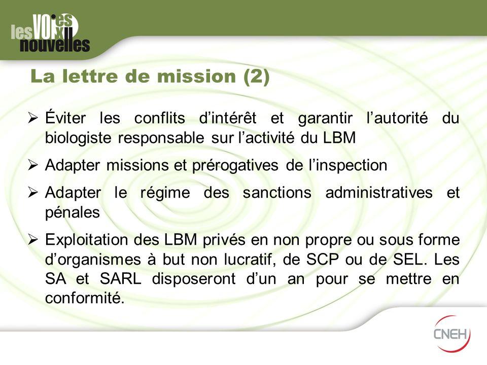 La lettre de mission (2) Éviter les conflits dintérêt et garantir lautorité du biologiste responsable sur lactivité du LBM Adapter missions et préroga
