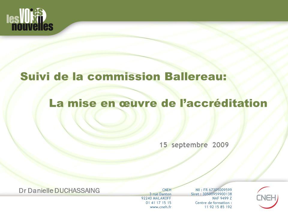 Suivi de la commission Ballereau: La mise en œuvre de laccréditation 15 septembre 2009 Dr Danielle DUCHASSAING NII : FR 67305009599 Siret : 3050095990