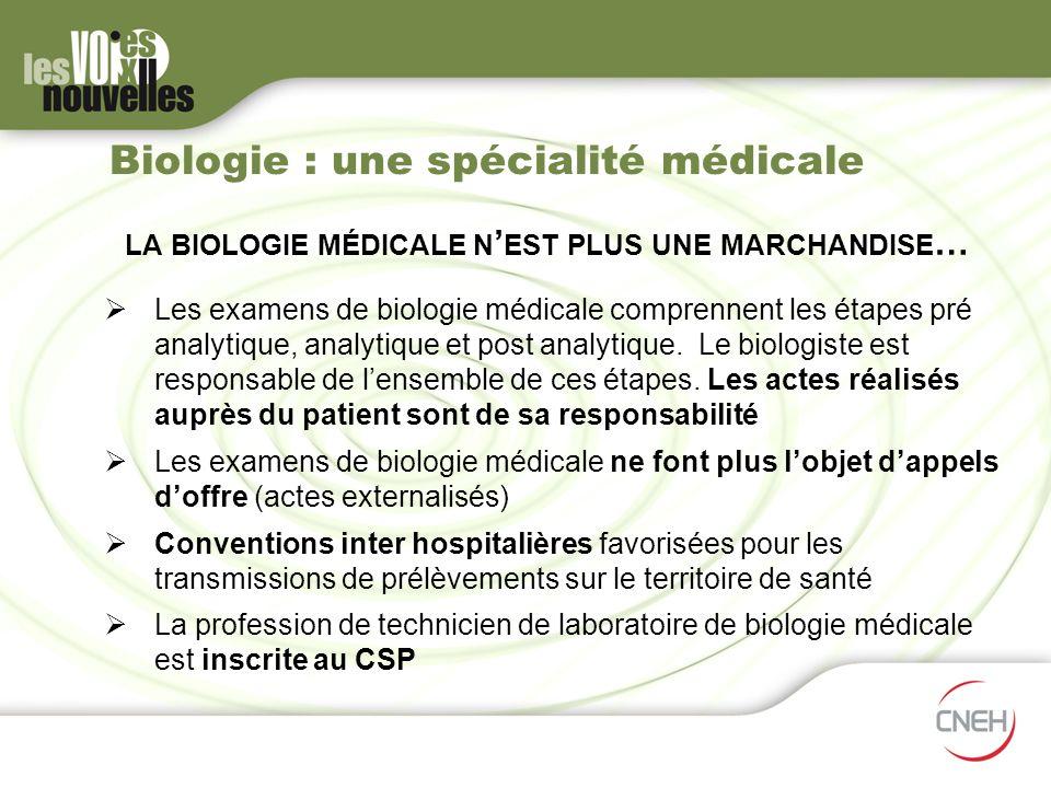 LA BIOLOGIE MÉDICALE N EST PLUS UNE MARCHANDISE … Les examens de biologie médicale comprennent les étapes pré analytique, analytique et post analytiqu