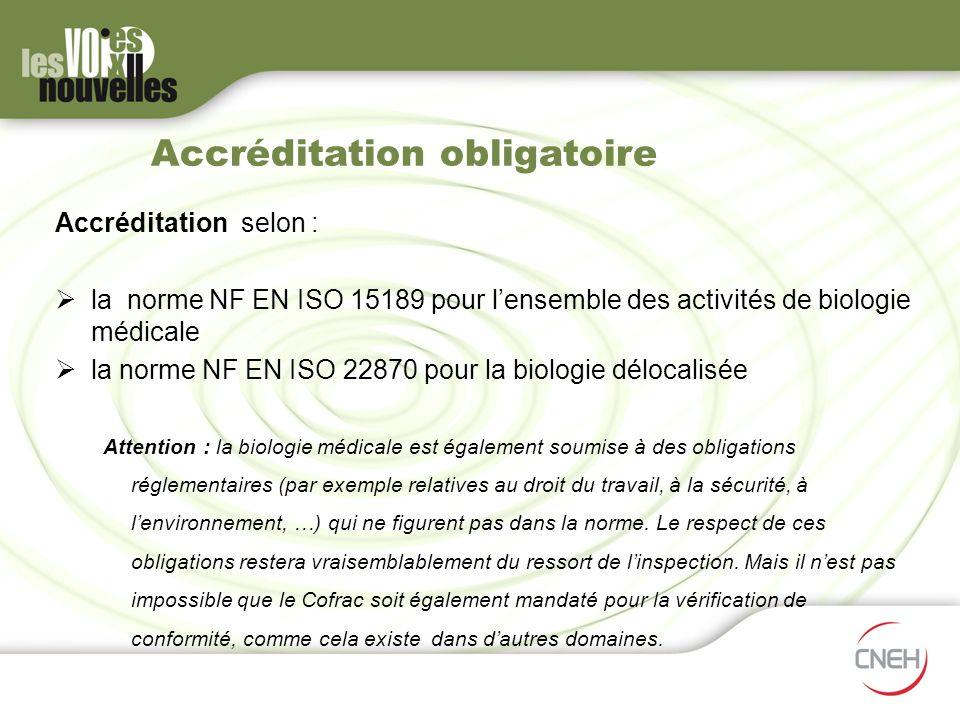 Accréditation obligatoire Accréditation selon : la norme NF EN ISO 15189 pour lensemble des activités de biologie médicale la norme NF EN ISO 22870 po
