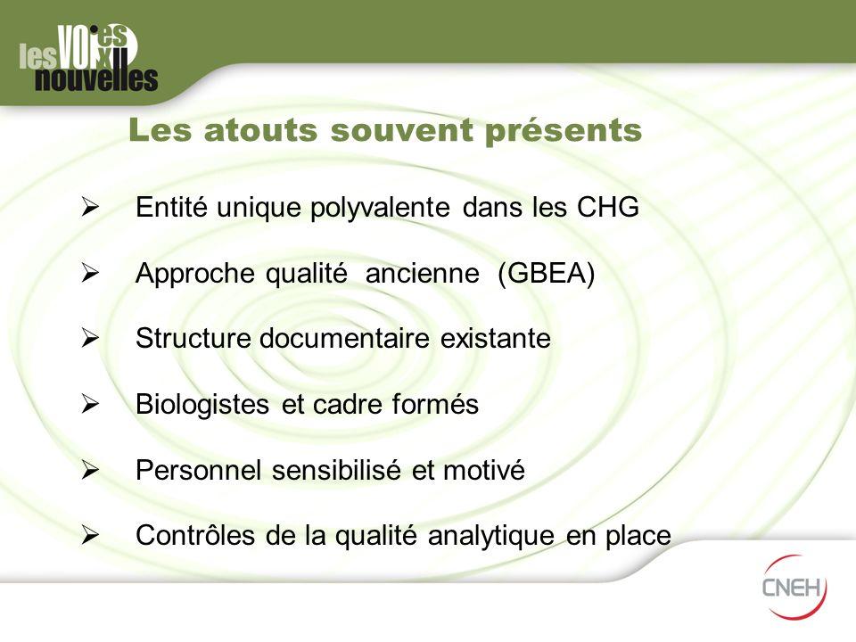 Les atouts souvent présents Entité unique polyvalente dans les CHG Approche qualité ancienne (GBEA) Structure documentaire existante Biologistes et ca