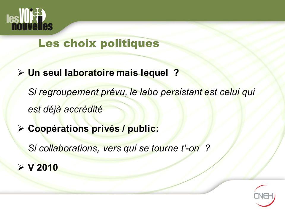 Les choix politiques Un seul laboratoire mais lequel ? Si regroupement prévu, le labo persistant est celui qui est déjà accrédité Coopérations privés